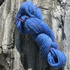blue homespun yarn for table runner project